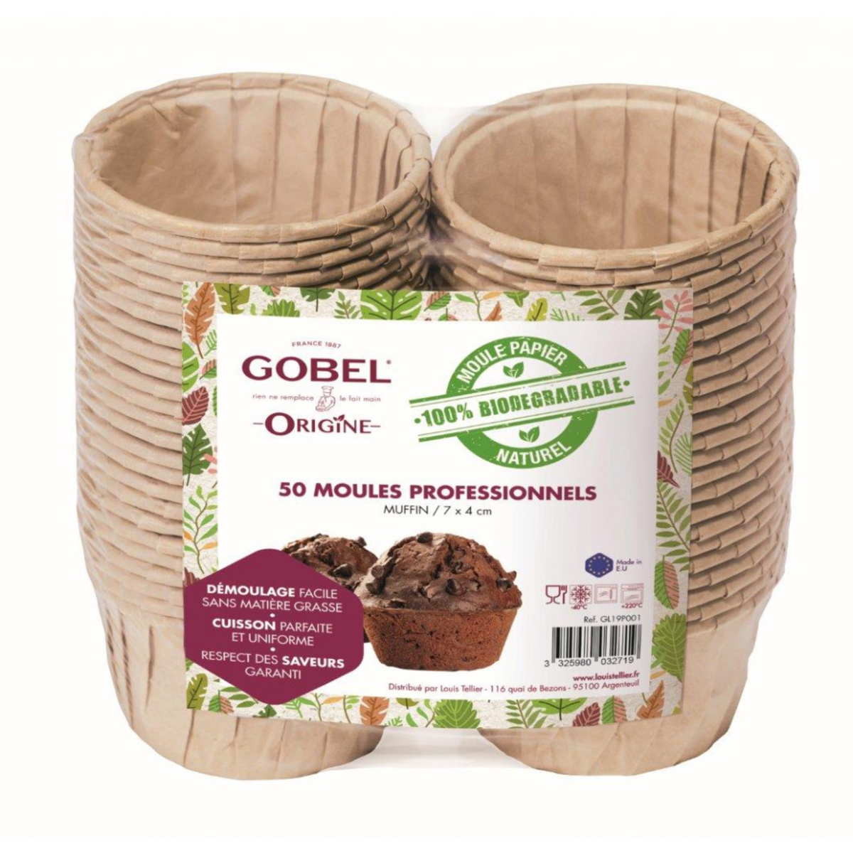 Lot de 50 moules à muffin jetables 7,2 x 4